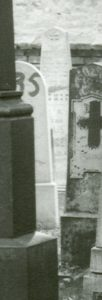 Julie Bergel's gravestone in a close-up of historic photograph from the  Prostějov District Archives.